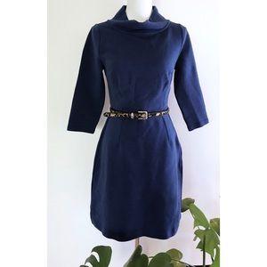 Boden Zoe Ribbed Knit Royal Blue 3/4 Sleeves Dress